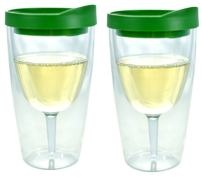 Green Lid Wine Tumbler, 16oz, 2 Pack - Southern Homewares - Insulated Double Wall Acrylic w/See Through Cup