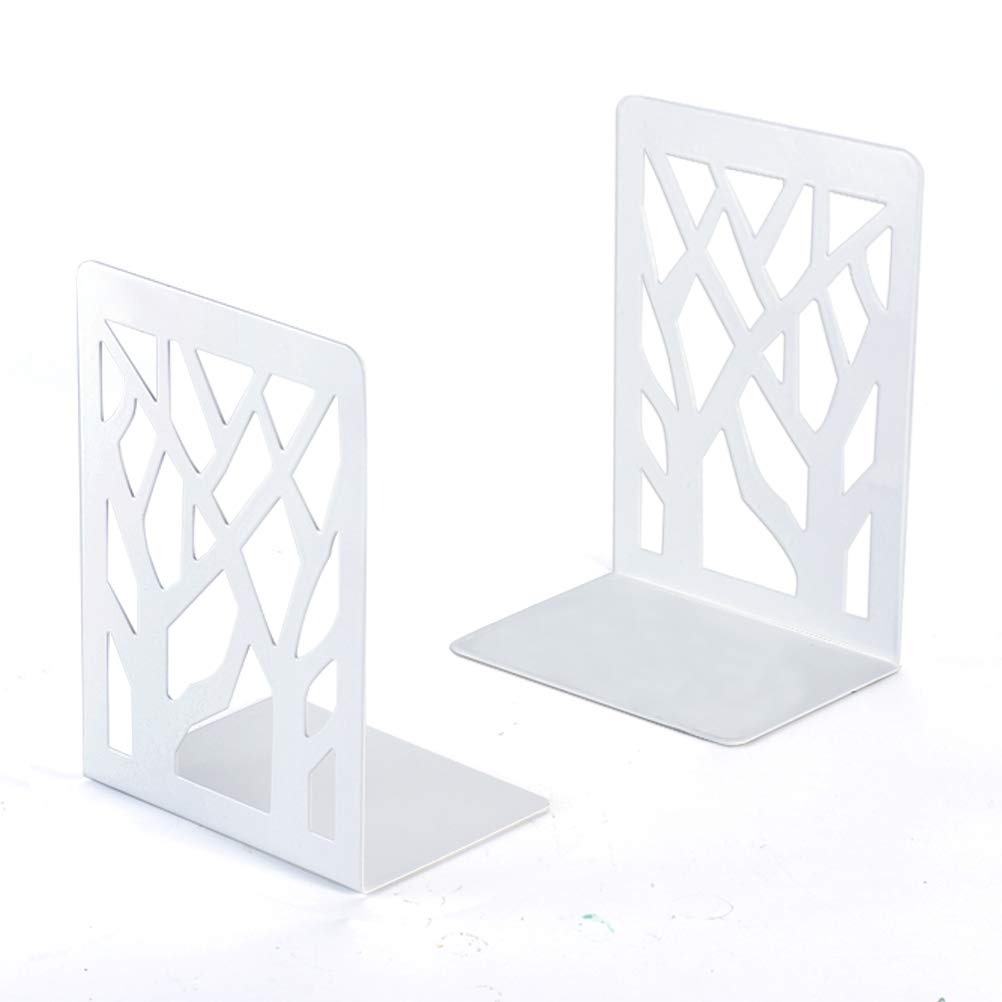 Book Ends, Bookends, Book Ends for Shelves, Bookends for Shelves, Bookend, Book Ends for Heavy Books, Book Shelf Holder Home Decorative, Metal Bookends White 1 Pair, Bookend Supports, Book Stoppers