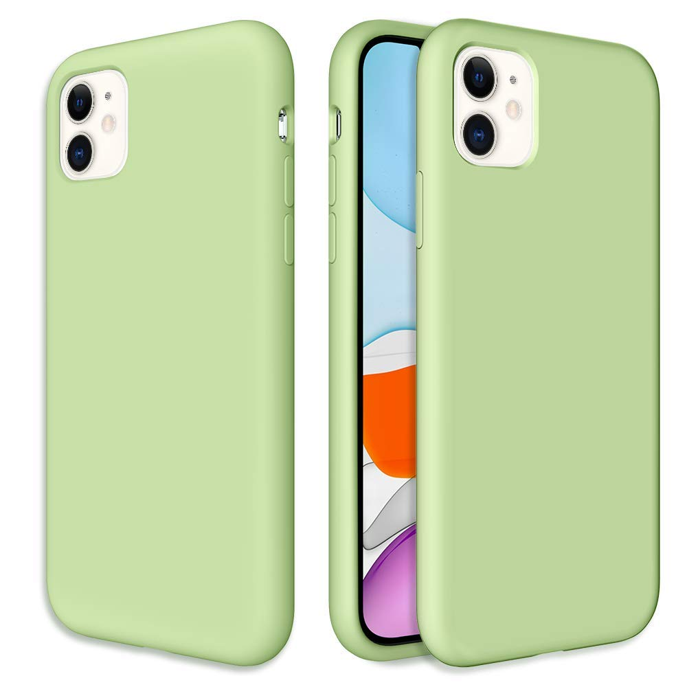 Caka Silicone Case for iPhone 11 Gel Rubber Liquid Silicone Case Soft Slim Girly Girls Luxury Microfiber Cloth Lining Cushion Protective Case for iPhone 11 Inches (Mint)