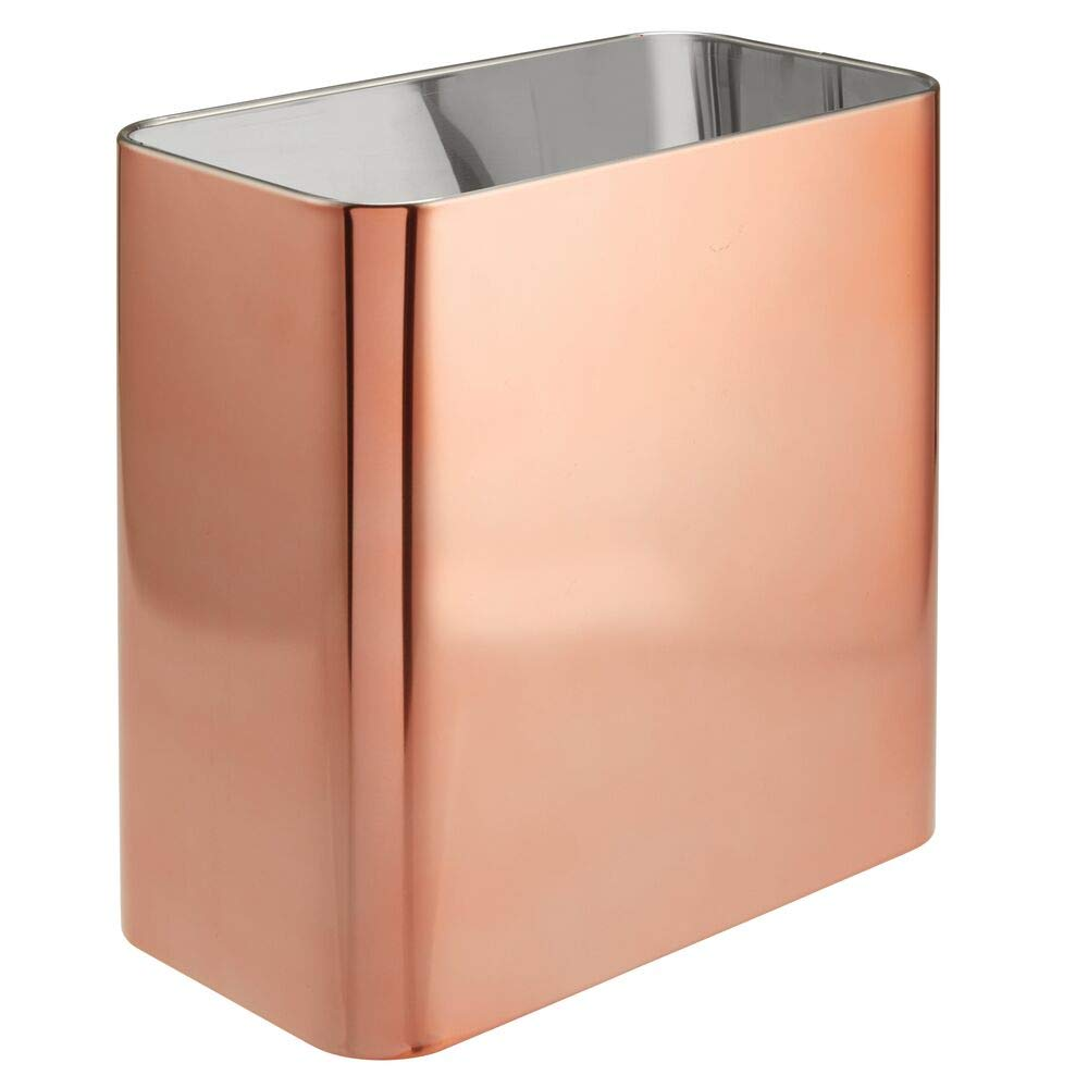 mDesign Rectangular Metal Small Trash Can Wastebasket, Garbage Container Bin - for Bathrooms, Powder Rooms, Kitchens, Home Offices - Solid Stainless Steel - Rose Gold