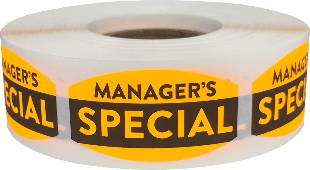 Manager's Special Grocery Store Food Labels .75 x 1.375 Inch 500 Total Adhesive Stickers
