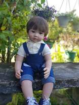 Zero Pam Reborn Toddlers Boy Dolls,Handmade Soft Silicone Vinyl Baby 24 inch Bib Pants Boy Reborn Baby Dolls Realistic /ASTM F963&EN71 Certification