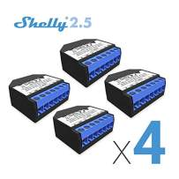 Shelly 2.5 Double Relay Switch and Roller Shutter WiFi Open Source Wireless Home Automation Dual Power Metering iOS Android Application (4 Pack UL)
