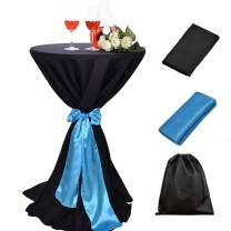 LOVWY 30 Inch (2.5 FT) / 32 Inch Cocktail Black Tablecloth Seamless Polyester Fabric + Baby Blue Satin Sash Combination for Decoration of Wedding Engagement Club Bar Outdoor Party