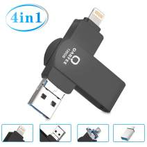 Flash Drive for iPhone, Photo Stick 128GB for iPhone, External Storage Memory Stick Photostick Mobile, Thumb Drive USB 3.0 Compatible iPhone/iPad/Android Backup OTG Smart Phone Qarfee Black