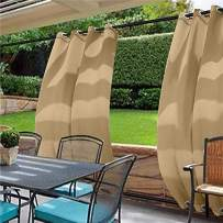 cololeaf Water Repellent Outdoor Decor Panel Grommet at top and Bottom Curtains/Drapes Panels for Patio,Front Porch,Gazebo, Pergola, Cabana, Dock, Beach Home,Wheat 120W x 96L Inch (1 Panel)