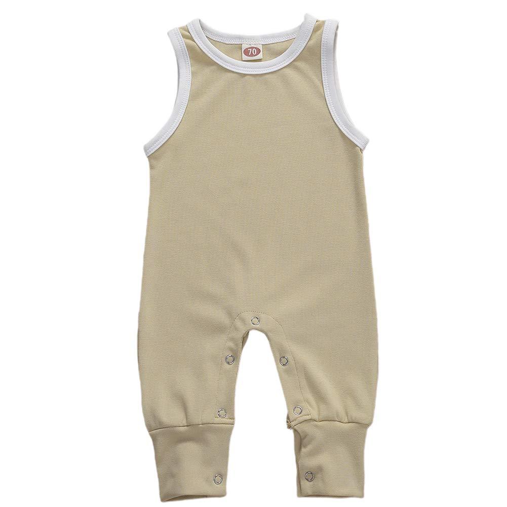 Summer Infant Toddler Kids Baby Girl Boy Simple Solid Romper Bodysuit Jumpsuit