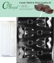 "Cybrtrayd 45St25-J034 Tooth Lolly Chocolate Candy Mold with 25 Cybrtrayd 4.5"" Lollipop Sticks"