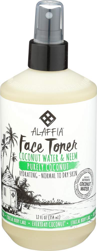 ALAFFIA PURELY COCONUT FACE TONER - Normal to Dry Skin, Refreshing Help to Hydrate and Balance Skin with Neem, Papaya, and Lavender Oil, Fair Trade, Coconut Water and Neem, 12 Ounces