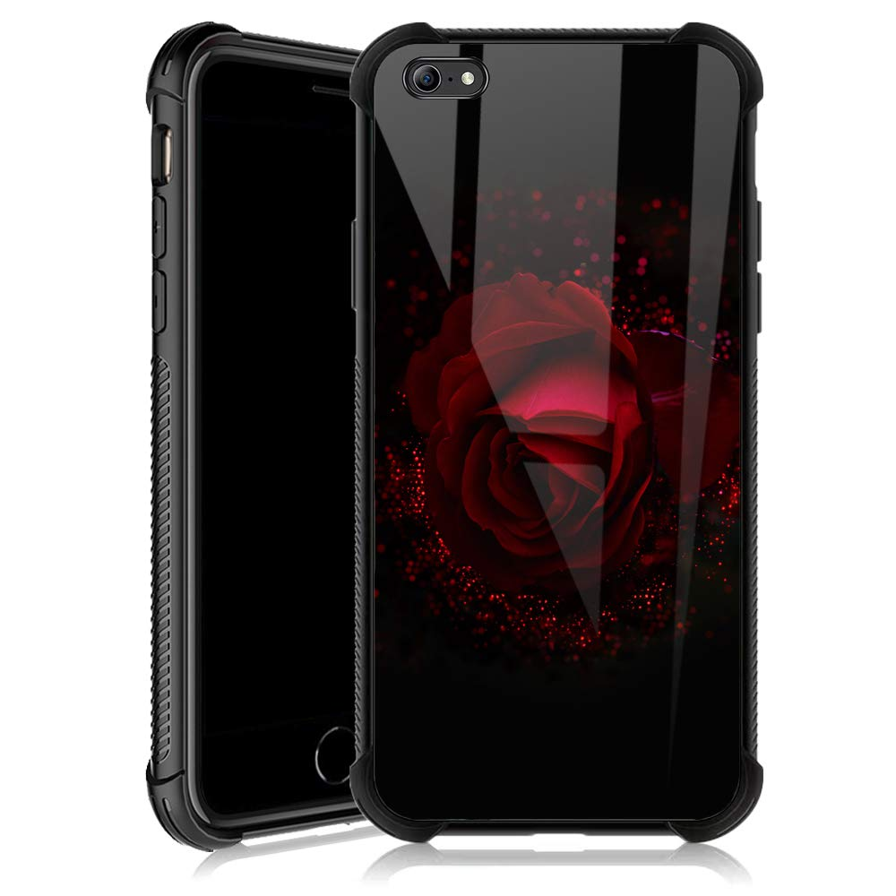 iPhone 6s Case,Sparkling Red Rose iPhone 6 Cases for Girls,Tempered Glass Back Cover Anti Scratch Reinforced Corners Soft TPU Bumper Shockproof Case for iPhone 6/6s Noble Retro Flower