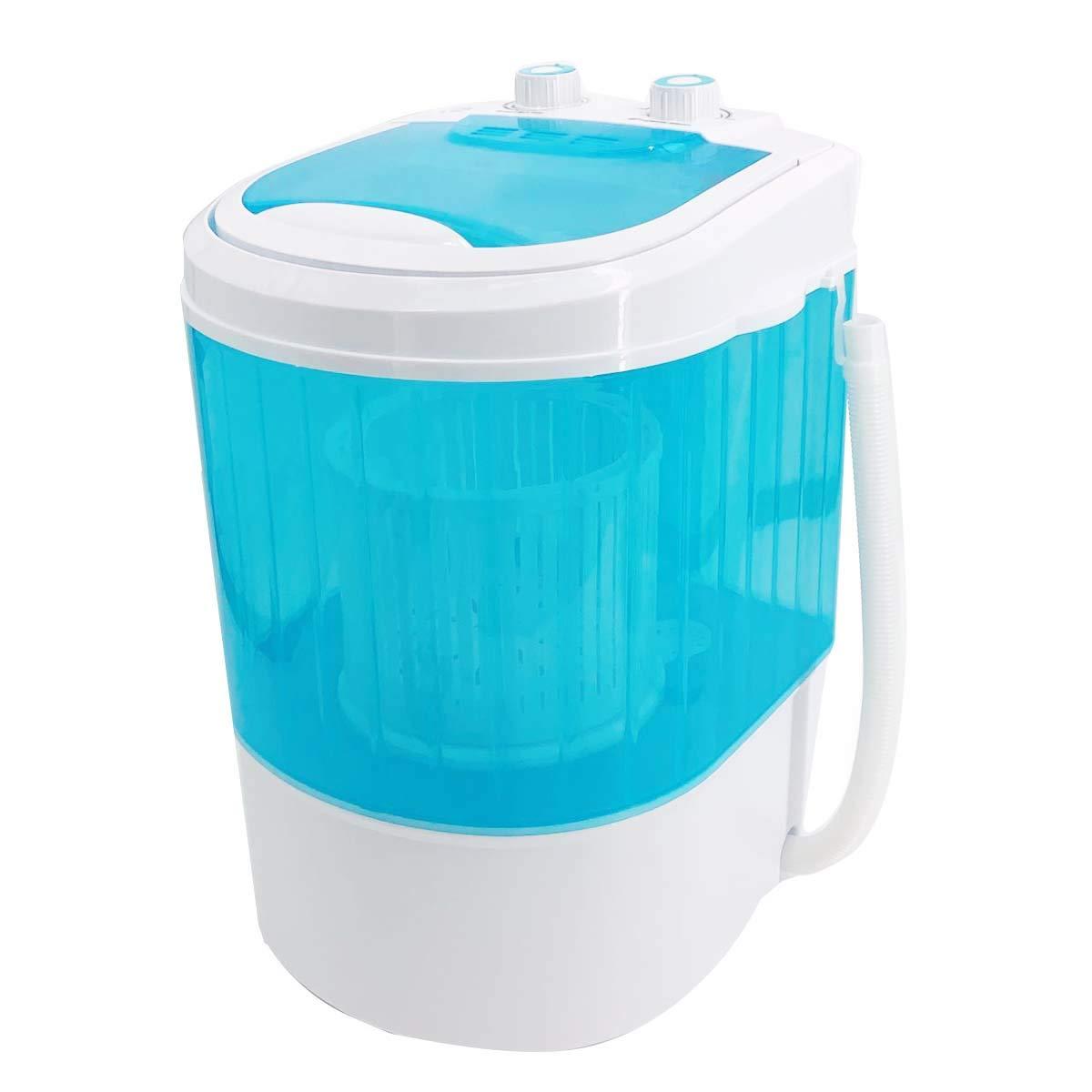 Cozyel Portable Single Tub Washer And Dryer- The Laundry Alternative- Mini Washing Machine- Travel Washing Machine- Small Washing Machine with Spin Cycle Basket and Drain Hose, Energy Saving (Blue)