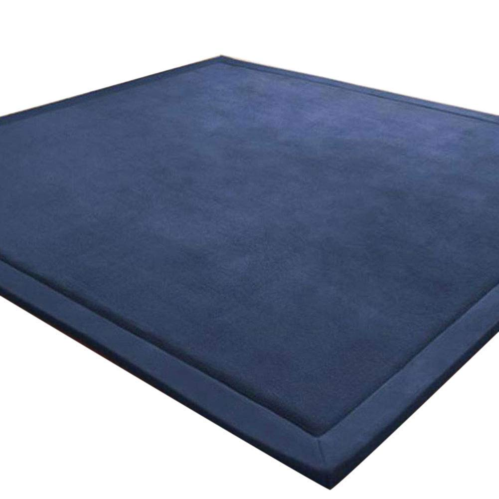 Baby Play Mat, Japanese Thicken Coral Velvet Carpet Children Crawling Mat Tatami Mat Living Room Bedroom Mat Area Rug, Foam Mat Play Mats Yoga Mat, Blue Area Rug, 79 by 79 inch