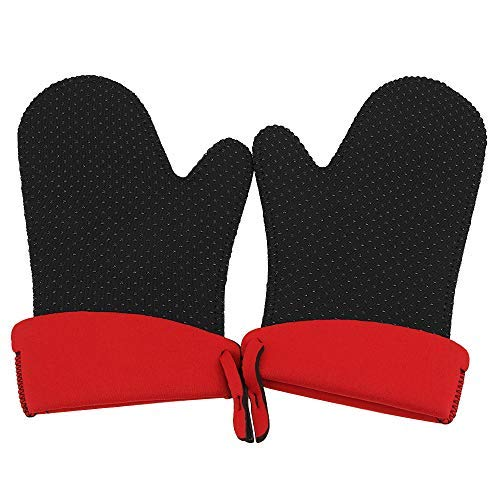 Toprime Kitchen Oven Mitts-Silicone Heat Resistant Grill Gloves, Non-Slip Grip 500°F/260°C for Cooking, Baking, Grilling, Black - 1 Pair