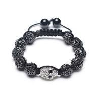 Bling Jewelry Goth Gunmetal Gold-Tone Skulls Crystal Ball Shamballa Inspired Bracelet for Women for Men Black Cord String Adjustable