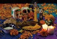 Baocicco 5x3ft Day of The Dead Backdrop Yellow Petals of Marigold Skulls Sacrifice Candle Photography Background Dia DE Los Muertos Mexican Fiesta Supplies Baby Shower Table Decor Photo Booth