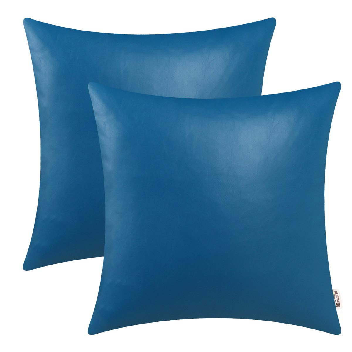 BRAWARM Pack of 2 Cozy Throw Pillow Covers Cases for Couch Sofa Home Decoration Solid Dyed Soft Faux Leather Both Sides 22 X 22 Inches Vivid Blue