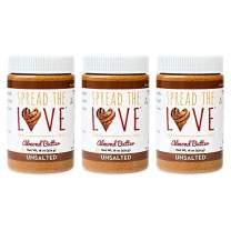 Spread The Love UNSALTED Almond Butter, 16 Ounce (All Natural, Vegan, Gluten-free, Creamy, No added salt, No added sugar, No palm fruit oil, Not pasteurized with PPO) (3-Pack)