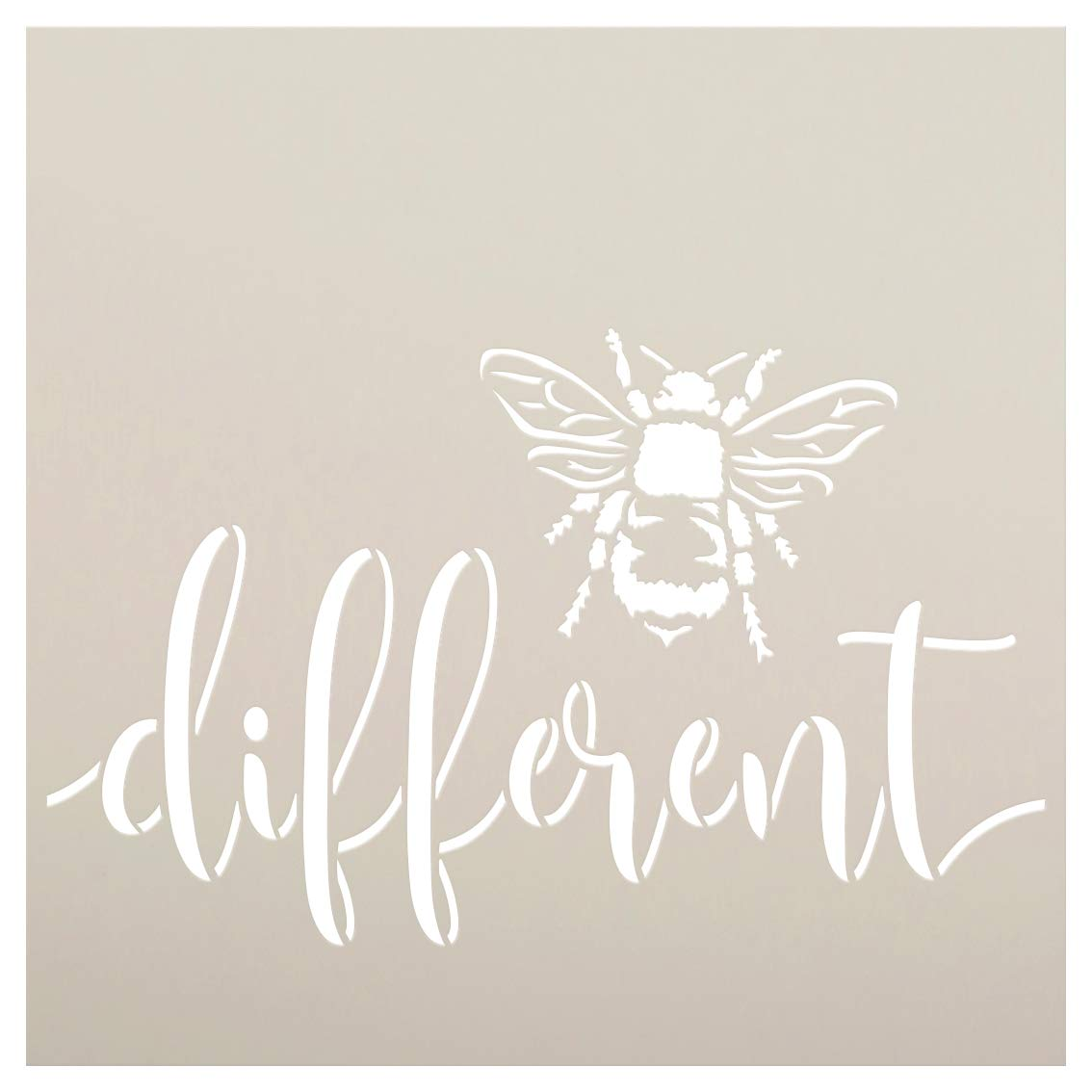 Bee Different Stencil by StudioR12   DIY Farmhouse Bumblebee Home & Classroom Decor   Spring Script Inspirational Word Art   Paint Wood Signs   Reusable Mylar Template   Select Size (9 x 9 inch)