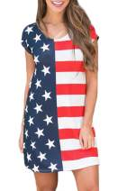 For G and PL Women's July 4th American Flag Short Sleeve T Shirt Dress