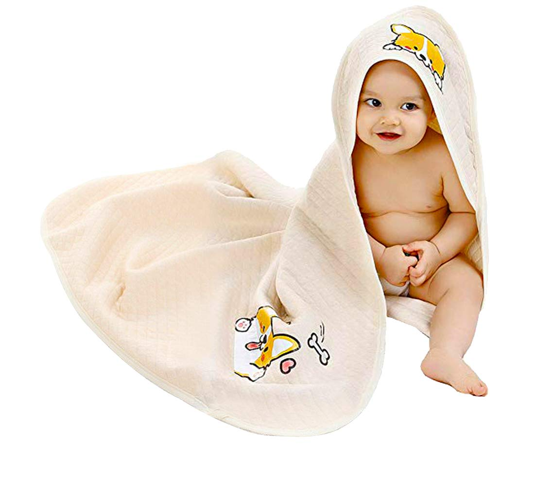 Alcea Rosea Unisex-Baby Newborn Corgi Print Hooded Baby Blanket Organic Cotton Wearable Blanket Sleep Bag Blanket Sleeper for Baby (Beige)