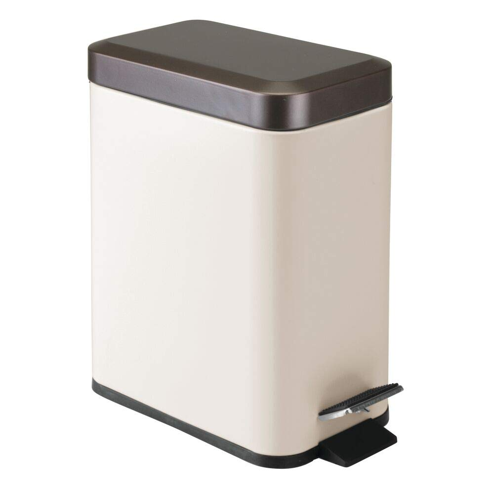 mDesign 1.3 Gallon Rectangular Small Steel Step Trash Can Wastebasket, Garbage Container Bin for Bathroom, Powder Room, Bedroom, Kitchen, Craft Room, Office - Removable Liner Bucket - Vanilla/Bronze