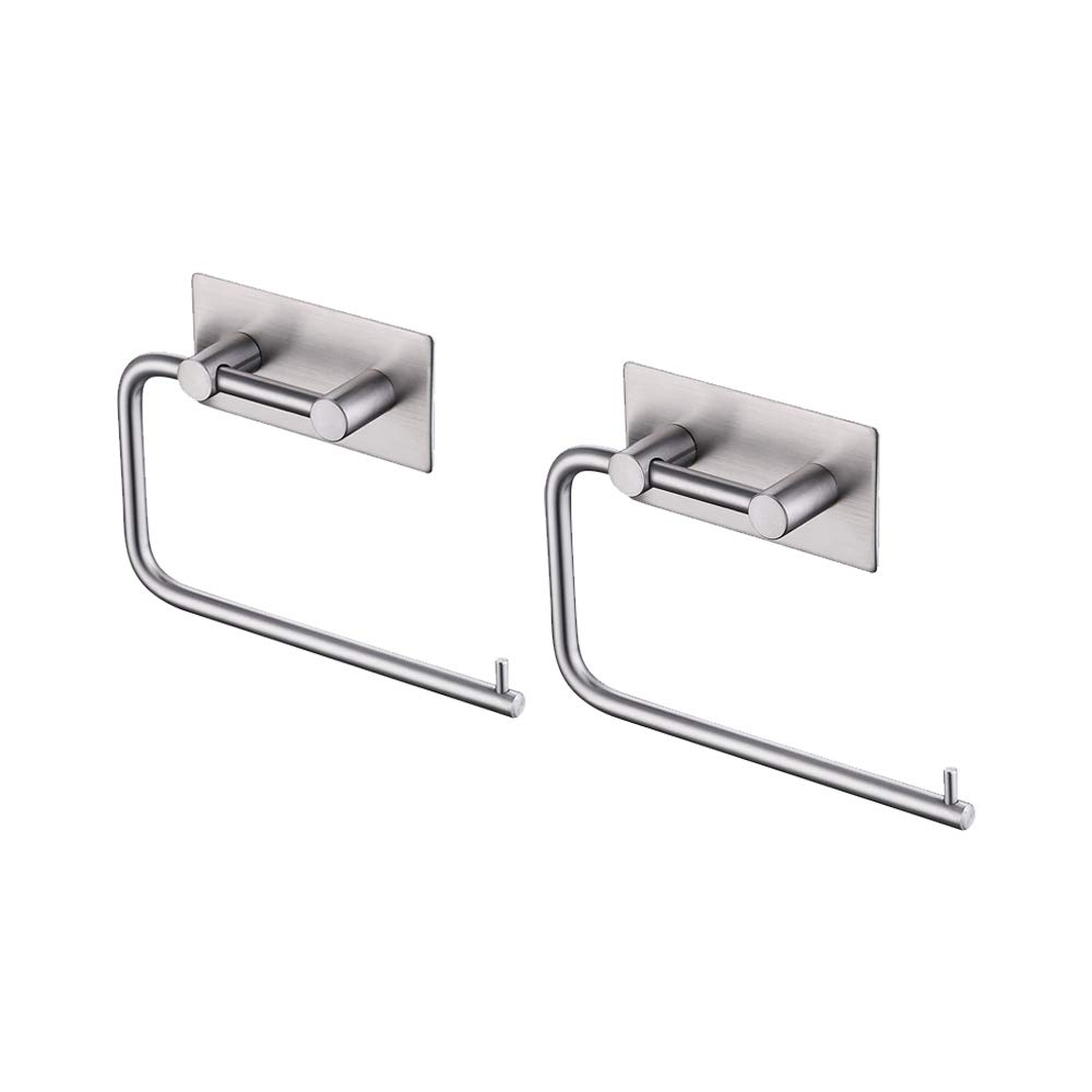 KES Toilet Paper Holder Self Adhesive SUS 304 Stainless Steel Storage Bathroom Kitchen Paper Towel Stick Rotating Rod Tissue Roll Hanger Contemporary Style, Brushed Finish 2 Pack, A7070-2-P2