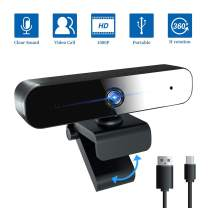 Webcam with Microphone, 1080P/30fps Full HD PC Laptop Computer Web Camera, Plug and Play USB Web Camera with 360-Degree Rotation, Desktop Webcam for Video Calling Recording Conferencing, Streaming