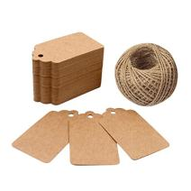 Price Tags, Kraft Paper Gift Tags 100 PCS Paper Tags with 100 Feet Jute String for Arts and Crafts, Wedding Christmas Day Thanksgiving,7 cm X 4 cm