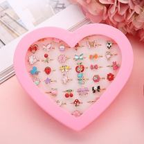 Fineder 36pcs Little Girl Adjustable Rings in Box, Children Kids Jewelry Rings Set with Heart Shape Display Case, Girl Pretend Play and Dress up Rings, Christmas gift for Kids …