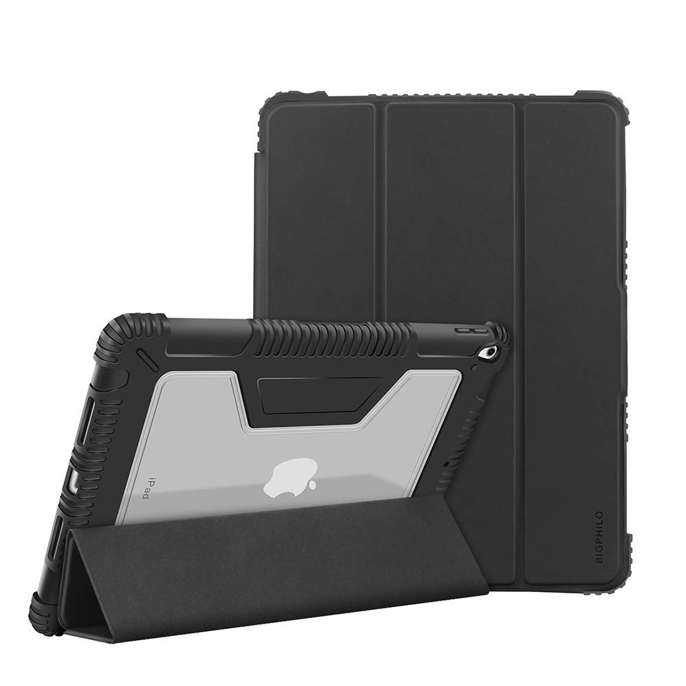 BIGPHILO [SPA Series] Heavy Duty Protective Case for 10.5 inch iPad Air 3 (2019), Rugged Clear Back Case + Trifold Stand Front Cover, [Built-in Pencil Holder] Smart Folio for iPad Air 3rd Gen, Black