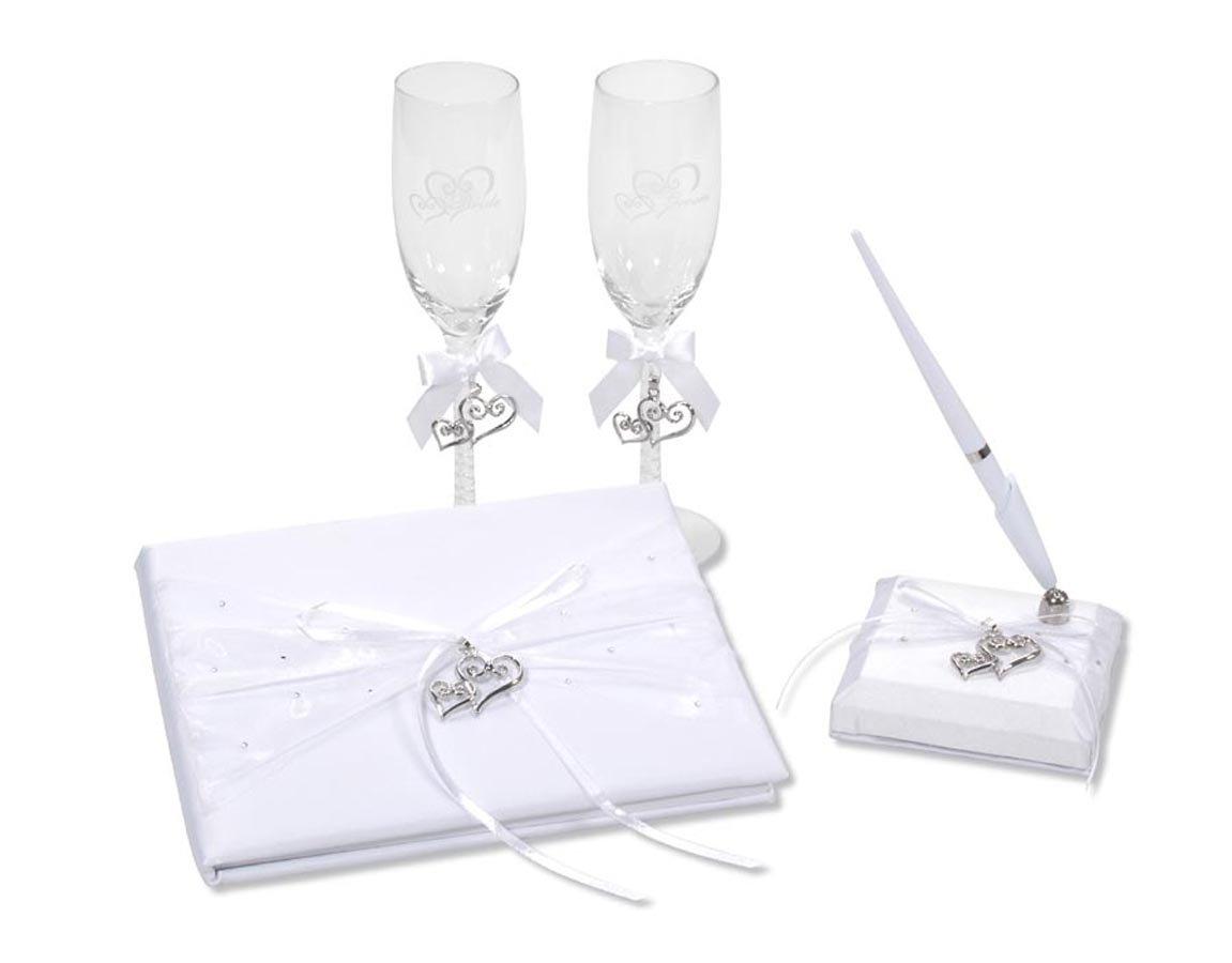 Darice VL0026, Heart Charm Rhinestone Guest Book Pen Glass Set