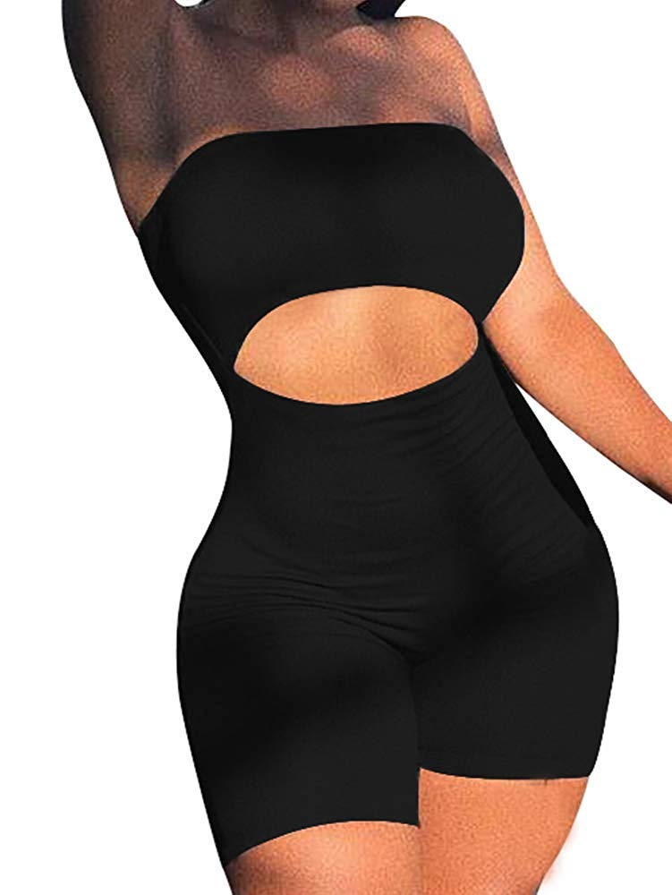 LCNBA Women's Sexy Bodycon Strapless Romper Jumpsuit Catsuit Shorts Club Party Outfit