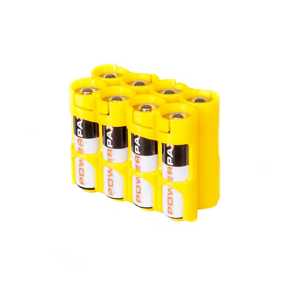 Storacell by Powerpax AA Battery Caddy, Yellow, Holds 8 Batteries