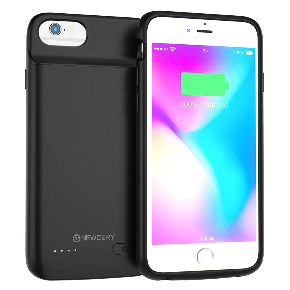 NEWDERY Battery Case for iPhone 6, 6s, 3200mAh Extended Battery Pack Charging Case Compatible with iPhone 6, 6s, Portable Rechargeable Battery Case Protective Backup Charger Case 4.7inch