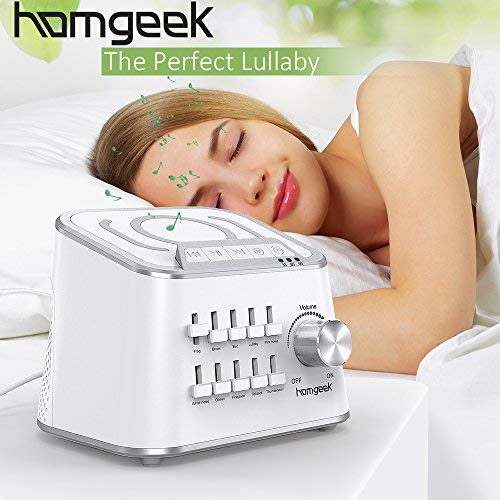 White Noise Sound Machine,Homgeek Nature Sounds Machine,Baby Noise Sound Machine,Sleep Therapy Sound Machine with Customize Sound,Dual Volume Adjustment and Timer Function