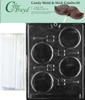 "Cybrtrayd 45St50-M011 Plain Lolly Chocolate Candy Mold with 50 Cybrtrayd 4.5"" Lollipop Sticks"