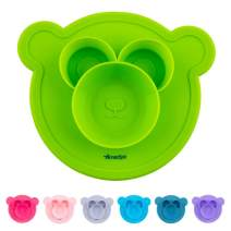 Amaziya | Suction Bowls for Toddlers, Silicone Bearry Bowl, Baby and Toddler Bowl with Nonslip Silicone Base (Lime Green)
