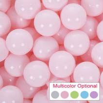 PlayMaty Pack of 50 Macaron Ball Pit Plastic Ball Kids Swim Pit Fun Toy 50 Pieces Phthalate Free BPA Free Balls with Storage Bag for Baby Playhouse Pool Birthday Party Decoration (Light Pink)