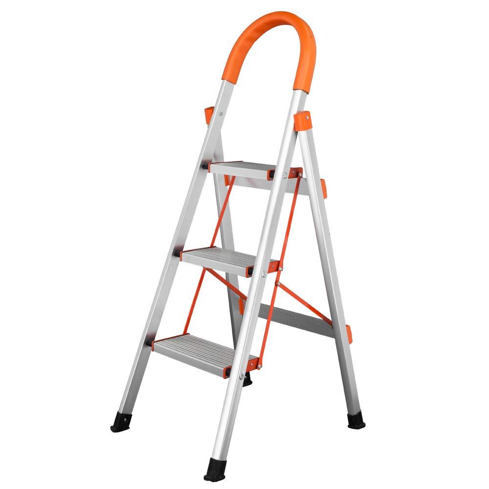 Tenozek 3 Step Ladder Stool,Folding Step Stool,Portable Lightweight Folding Space Saving Ladders Multi-Use for Household/Market/Office-330 Lbs (Orange, 3 Step)