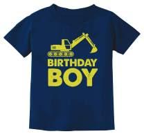 Birthday Boy Gift Shirt Yellow Tractor Bulldozer Construction Party Kids T-Shirt