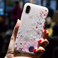 Cocomii 3D Flower Translucent iPhone Xs/iPhone X Case, Slim Thin Matte Soft TPU Silicone Rubber Gel 3D Relief Silicone Floral Fashion Bumper Cover for iPhone Xs/X 5.8 Inch (Watercolor Butterflies)