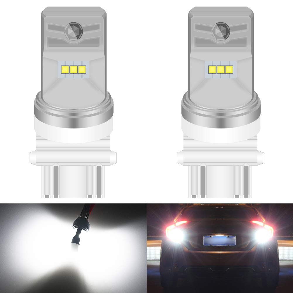 KATUR 3157 3047 3057 3155 3156 LED Bulb High Power CSP Chips Extremely Bright 1600 Lumens 6500K Xenon White Replace for Back up Reverse Brake Tail Turn Signal Lights,Pack of 2