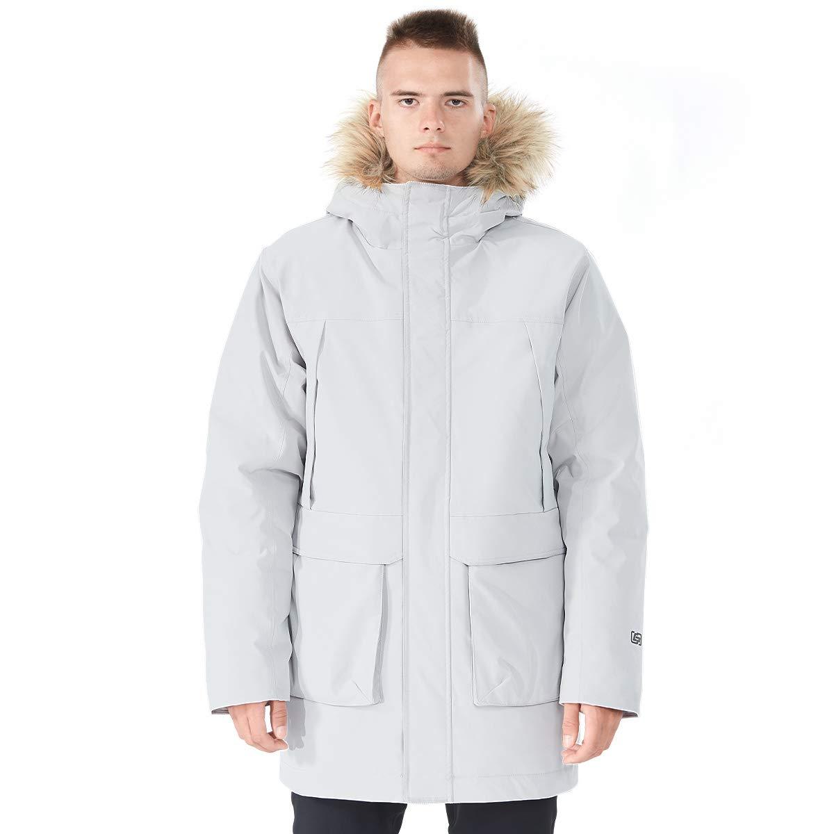 GYMAX Men's Long Down Coat, Removable Faux Fur Hood Thicken Winter Coat Down Jacket Parka Puffer Coat