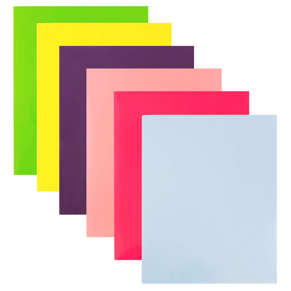 JAM PAPER Laminated Two Pocket Glossy Folders - Assorted Fashion Colors - 6/Pack
