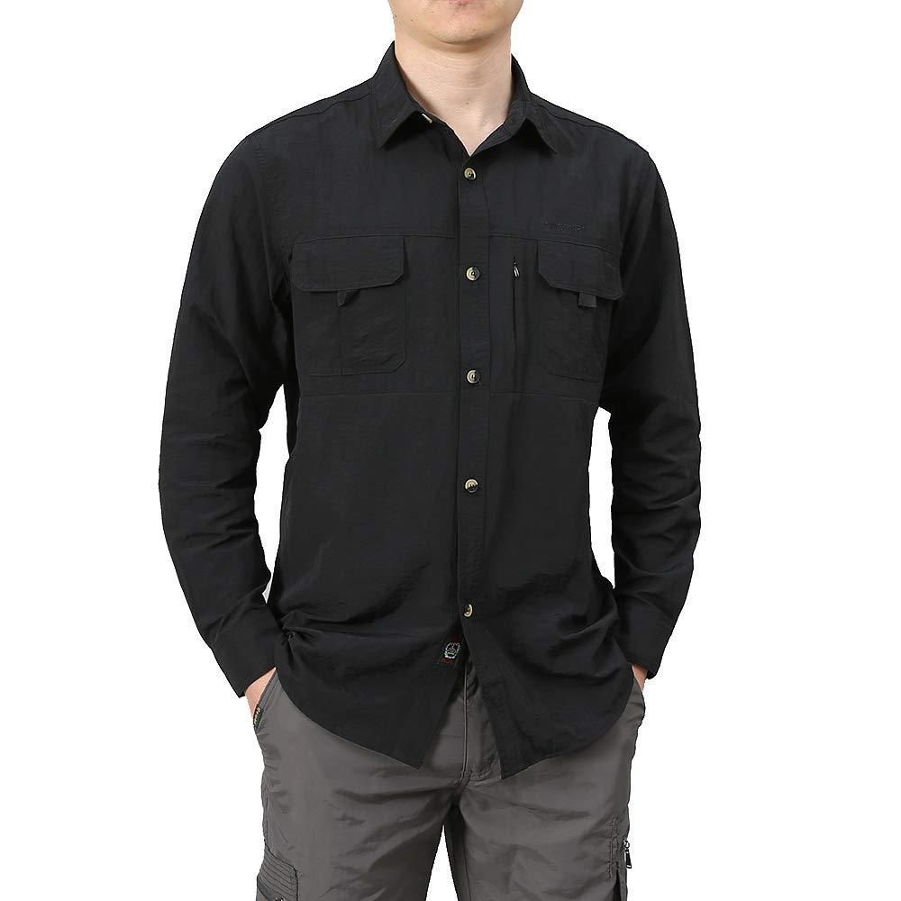 Granfee Men's UPF 50+ Sun Protection Fishing Shirt Long Sleeve Quick Drying Outdoor Lightweight Hiking Camping Shirt