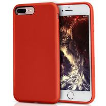 MILPROX Silicone Case, Pretty Series Liquid Silicone Gel Rubber, Shockproof Case with Microfiber Cloth Lining Cushion Compatible with iPhone 7 Plus/8 Plus - Red
