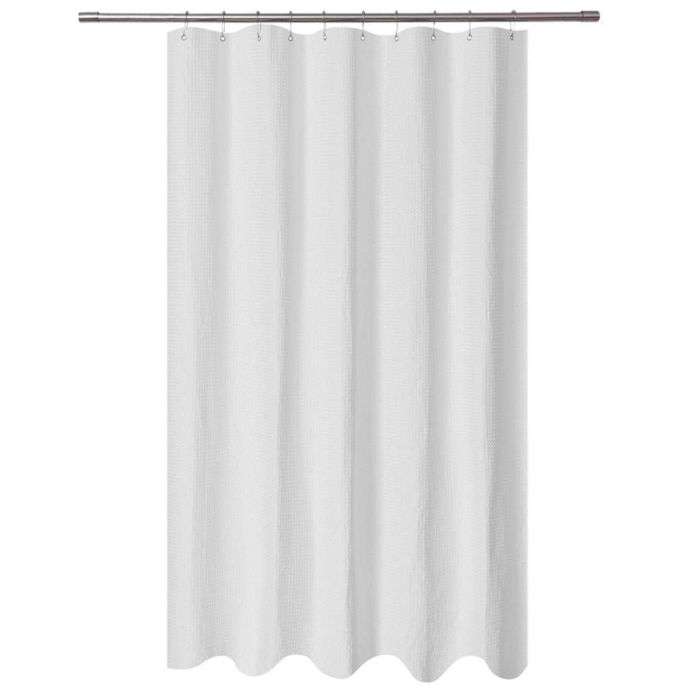 Long Stall Shower Curtain 54 x 78 inch, Fabric, Waffle Weave, Hotel Collection, 230 GSM Heavy Duty, Water Repellent, Machine Washable, Spa, White Pique Pattern Decorative Bathroom Curtain
