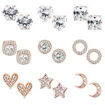 Hanpabum 9 Pairs CZ Stud Earrings Halo Round Square CZ Moon Star Heart Cartilage Earrings Set Teen Girls Women Ladies Gifts 6/8mm