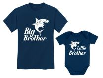 Big Brother Little Brother Shirts Gift for Shark Loving Boys Siblings Set