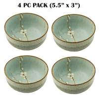 "Hinomaru Collection Japanese Soshun Early Spring Cherry Blossom Set of 4 Ceramic Donburi Rice Bowl Tayo Multi Purpose Mint Green - Made In Japan (5.5"" Dia x 3"" H)"